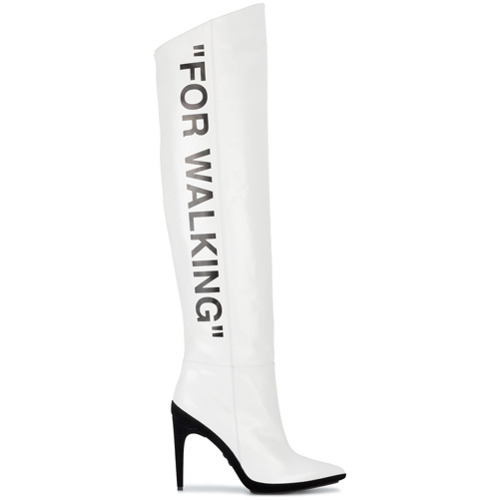Off White White For Walking 120 Knee Boots 1 259 Farfetch Com Lookastic Com