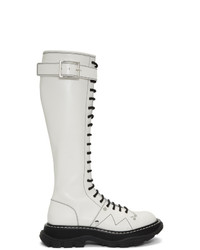 Alexander McQueen White Tread Lace Up Tall Boots