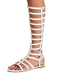 White Knee High Gladiator Heels