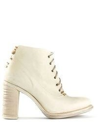 White Leather Lace-up Ankle Boots