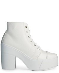 Asos All Good Things Lace Up Ankle Boots White