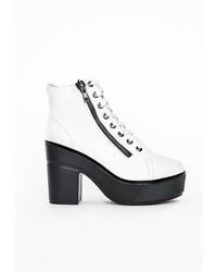 Missguided White Zip Detail Platform Boots