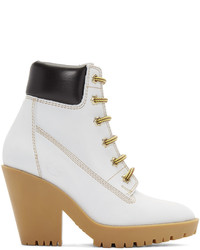 Off white suede lace up boots medium 972211