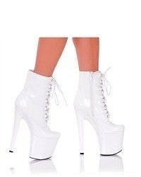 The Highest Heel Highest Heel Shoes 7 12 Platform Lace Up Ankle Bootie White Patent Pu Size 8
