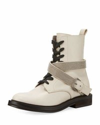 Brunello Cucinelli Leather Hiking Boot With Monili Harness Strap