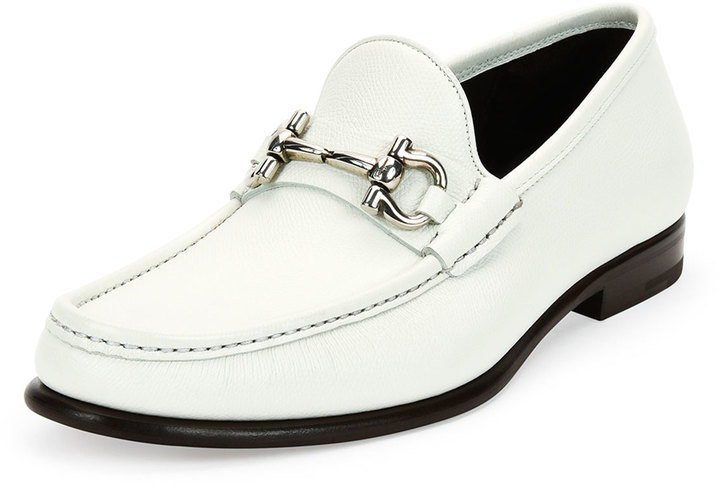 ... Loafers Salvatore Ferragamo Mason Textured Calfskin Gancini Loafer  White ...