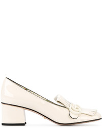 Gucci White Patent Marmont Heeled Loafers