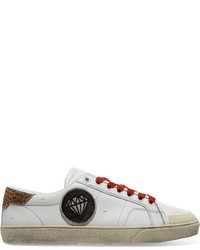 Saint Laurent Court Classic Suede Trimmed Appliqud Distressed Leather Sneakers White