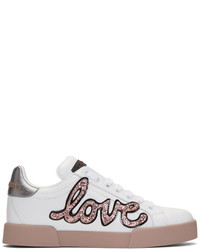 Dolce & Gabbana Dolce And Gabbana White And Pink Heart Patch Sneakers
