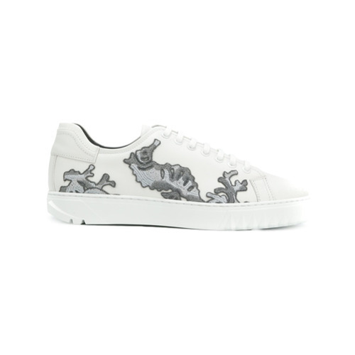 Salvatore Ferragamo Embroidered Lace Up Sneakers