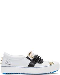 Fendi White Leather Studded Karlito Sneakers