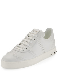 Valentino Garavani Fly Crew Lace Up Leather Low Top Sneaker White