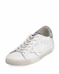 Golden Goose Glittered Leather Low Top Sneakers