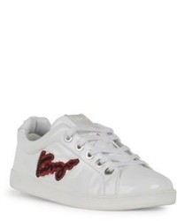 Kenzo Imprime Embroidered Leather Low Top Sneakers