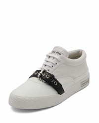 Miu Miu Leather Buckle Low Top Sneaker Whiteblack