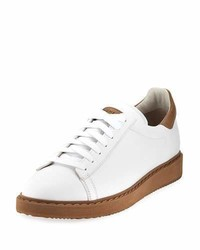 Brunello Cucinelli Leather Low Top Sneakers White