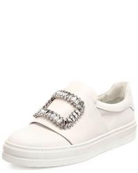 Roger Vivier Leather Strass Buckle Sneaker White