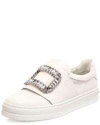 Roger Vivier Leather Strass Buckle Sneakers White