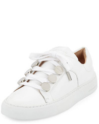 Carven Leather Studded Low Top Sneakers White