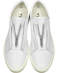 YLATI Nerone White Perforated Leather Low Top Sneakers
