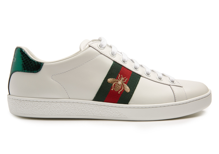 8d8a56f39 COM › Gucci › White Leather Low Top Sneakers Gucci New Ace Bee Embroidered Leather  Trainers