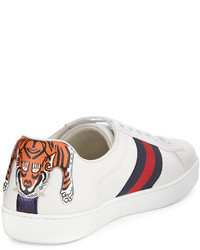 060036184a3 ... Gucci New Ace Hanging Tiger Leather Low Top Sneaker White ...