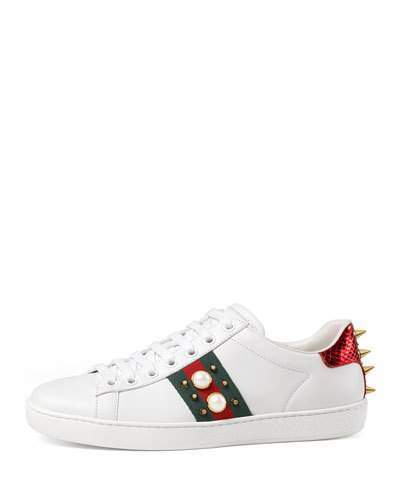 788cfd00c ... Leather Low Top Sneakers Gucci New Ace Studded Web Low Top Sneakers  White ...