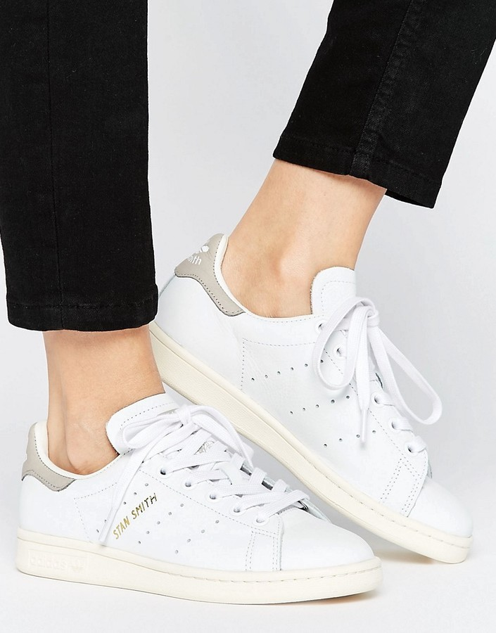 exclusive range quality design fashion $90, adidas Originals White And Gray Stan Smith Sneakers