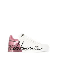 Women s White Leather Low Top Sneakers by Dolce   Gabbana  3e27dc4e159
