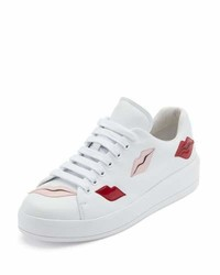 Prada Lip Appliqu Lace Up Low Top Sneaker White