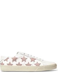 Saint Laurent Court Classic Appliqud Leather Sneakers White