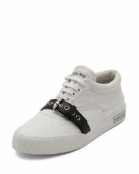 Miu Miu Leather Buckle Low Top Sneaker Whiteblack