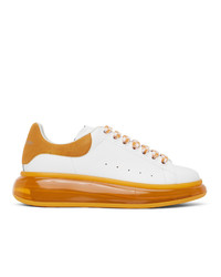 Alexander McQueen White And Orange Oversized Sneakers