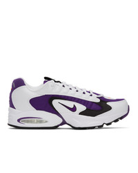 Nike White And Purple Air Max Triax 96 Sneakers