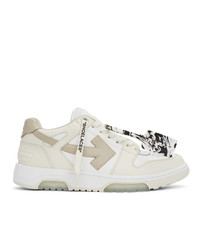 Off-White White And Taupe Out Of Office Sneakers