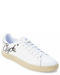 Puma White Clyde Signature Low Top Sneakers
