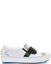 Fendi White Leather Studded Karlito Sneakers