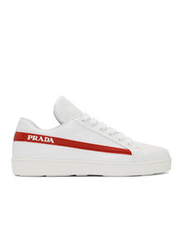 Prada White Red Band Sneakers