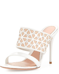 Alexander McQueen High Heel Leather Mule White