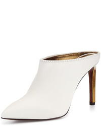 Lanvin Leather Point Toe Mule Slide White