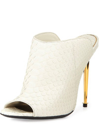 Tom Ford Open Toe Python Mule White