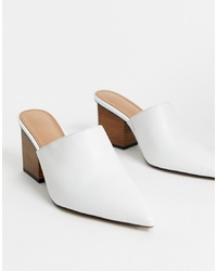 ASOS DESIGN Sloane Premium Leather Heeled Mules In White