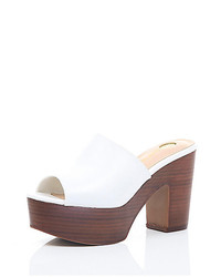 River Island White Leather Platform Mules
