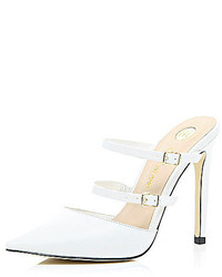 River Island White Leather Point Double Strap Mules