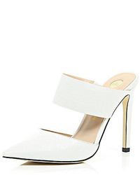 River Island White Leather Point Strappy Mules
