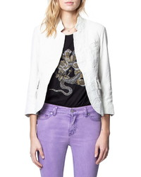 White Leather Open Jacket