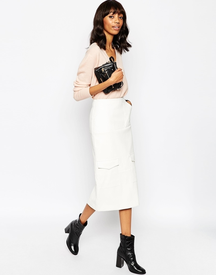 Asos Collection Leather Look Pencil Skirt With Utility Pockets
