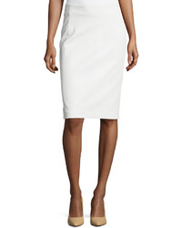 Diane von Furstenberg Lambskin Leather Pencil Skirt White