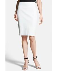 Diane von Furstenberg Marta Paneled Leather Skirt White 0