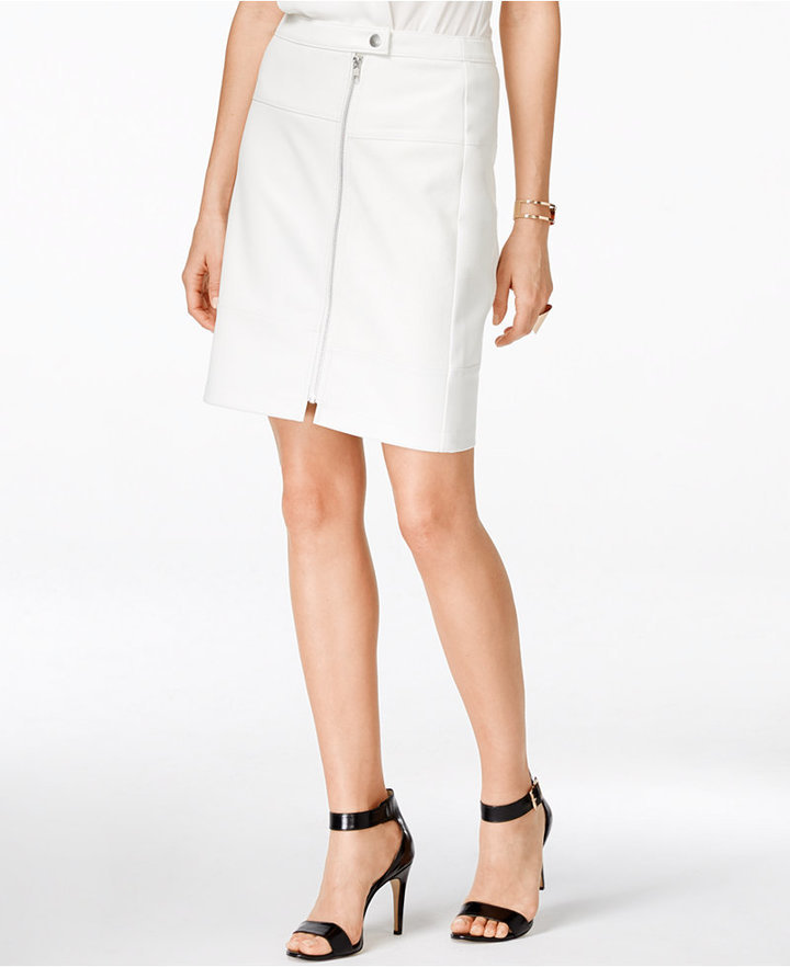 f98687339 Zip Front Faux Leather Skirt Only At Macys. White Leather Pencil Skirt by INC  International Concepts